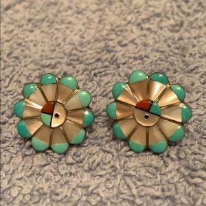 Native American sterling silver earrings Zuni